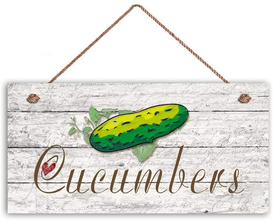LPLED Cucumbers Sign, Garden Sign, Rustic Decor, Distressed Wood, 5 x 10 Sign, Vegetable Sign, Gift for Gardener, Signs(HLW9249)