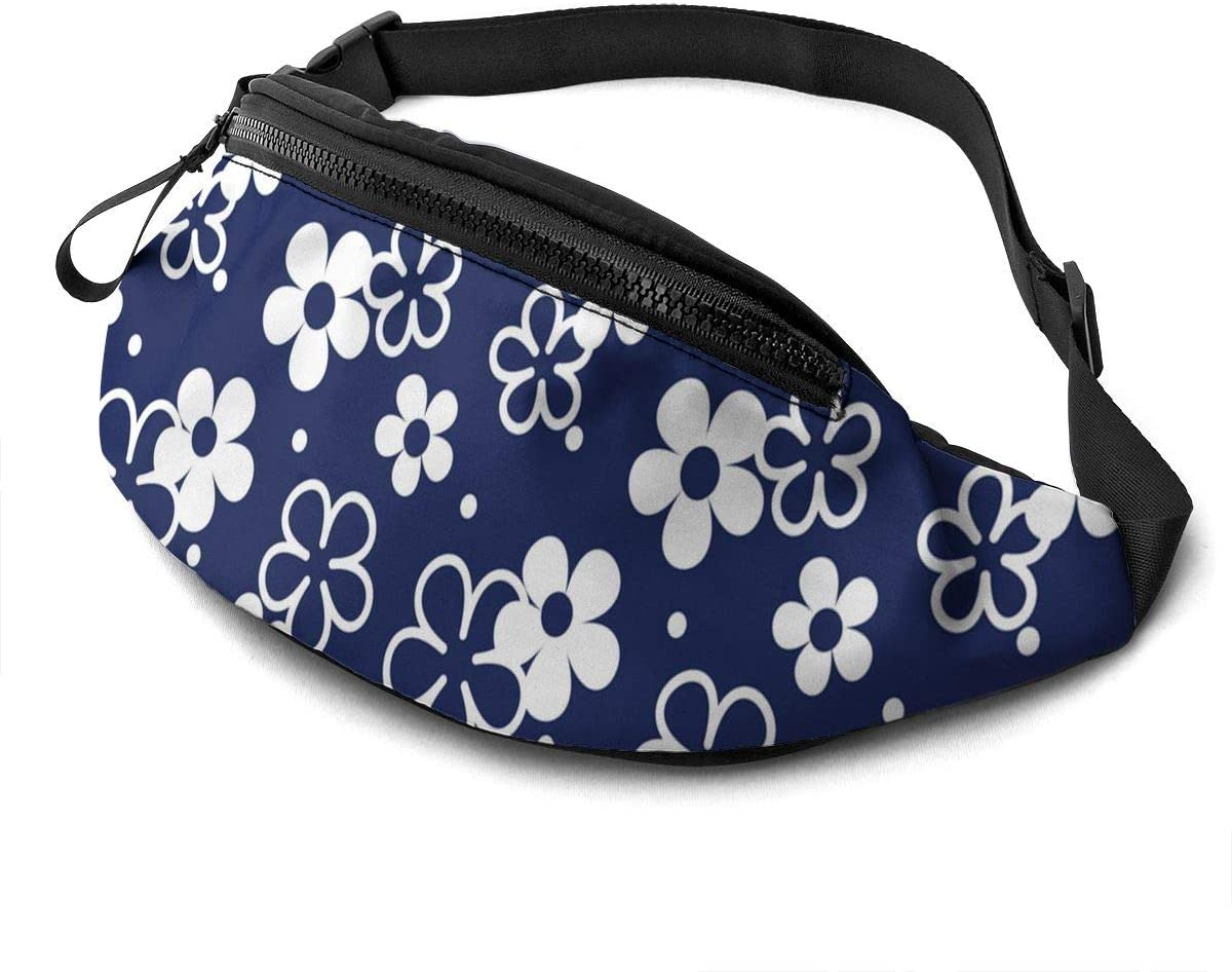 Dujiea Fanny Pack, Tiny Flowers Waist Bag with Headphone Hole Belt Bag Adjustable Sling Pocket Fashion Hip Bum Bag for Women Men Kids Outdoors Casual Travelling Hiking Cycling