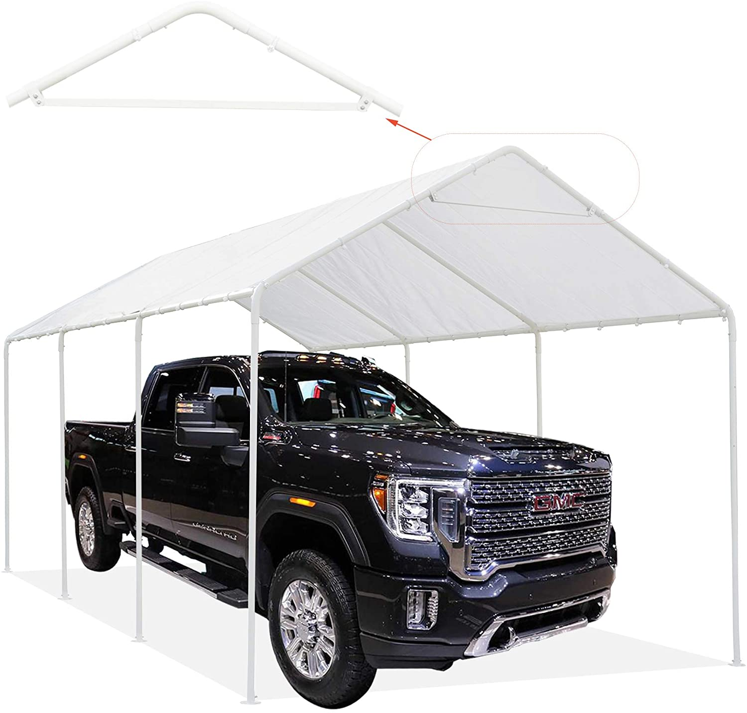 Thanaddo Heavy Duty Carport 10 x 20 Ft Outdoor Canopy Portable Garage Boat Shelter Tent for Party, Banquet and Patio Garden Storage Shed Waterproof Anti-UV 8 Steel Legs White Awning