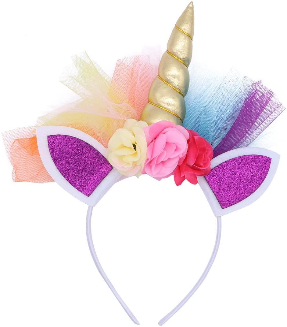 LUOEM Unicorn Horn Headband Unicorn Ears Headband Birthday Colorful Flower Hheadwear for Kids Adults Cosplay Costume,Party Decoration (Golden)