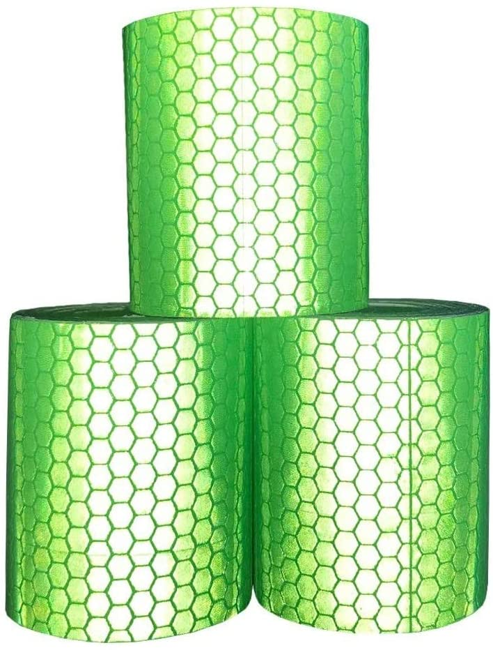 Reflective Tape Reflective Warning Tape Safety Reflector Tape, 2 inches × 1.09 yard, 5 cm × 1.0 m Per Roll, 3 Rolls (green)