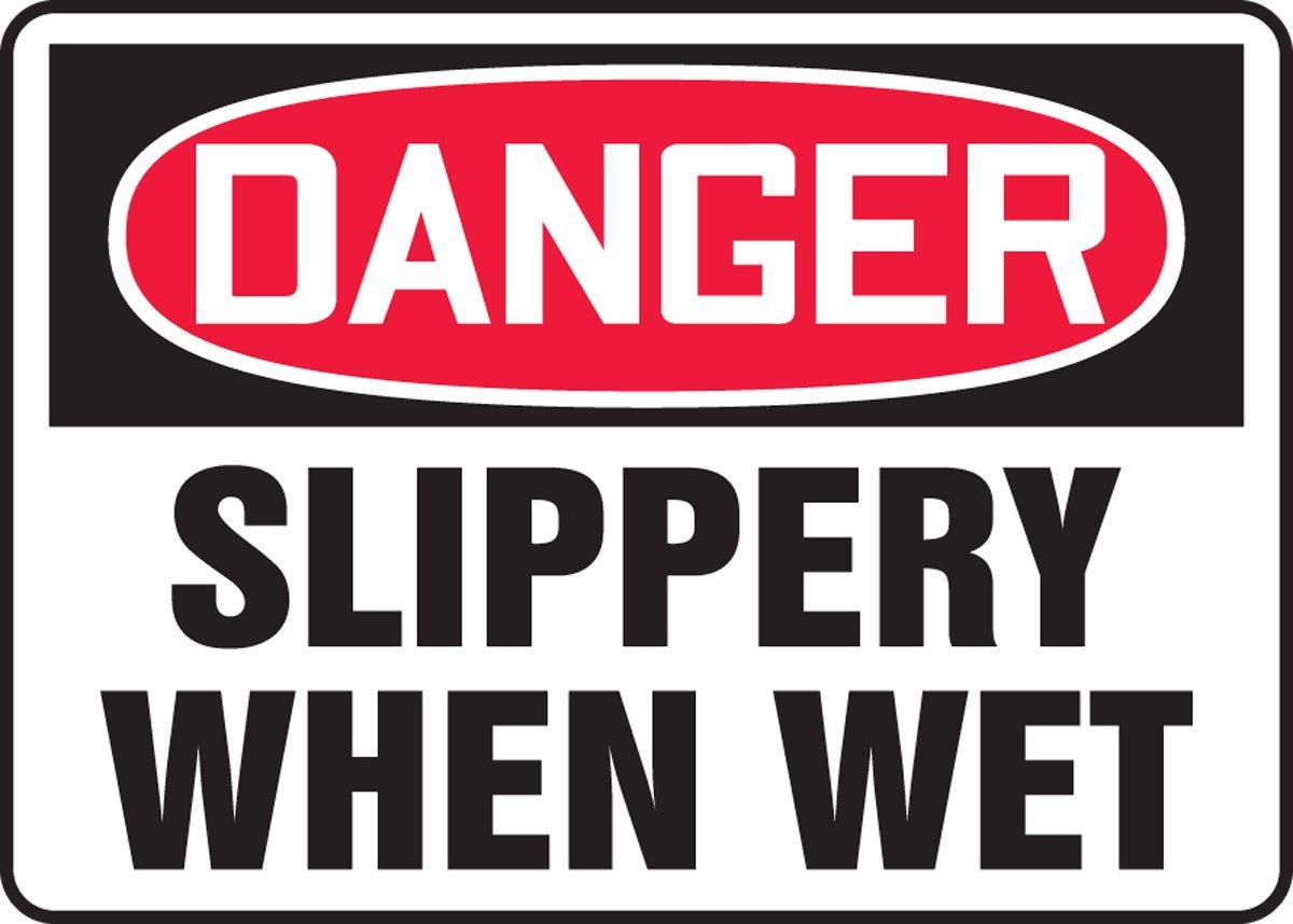 DANGER SLIPPERY WHEN WET 10 x 14 Plastic Sign