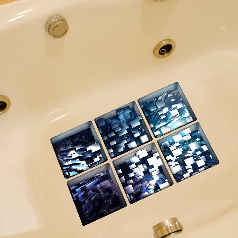ChezMax Blue Buildings Bath Treads Sticker Safety Non Slip Bath Tub Tattoos Tub Stickers Tub Decals Tub Appliques 6 Pcs 5.1