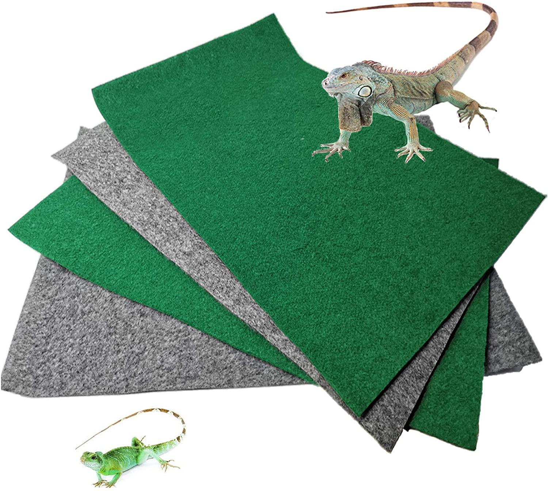 PINVNBY Reptile Carpet Pet Cage Mat Lizards Bedding Supplies Geckos Terrarium Substrate Liner for Chamelon Bearded Dragon Turtles Iguana Snakes 4PCS