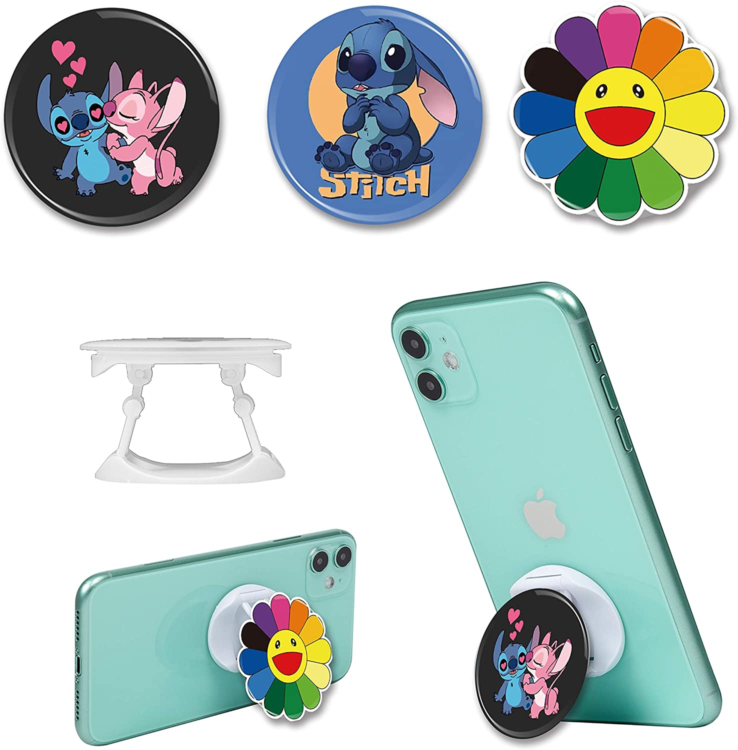 STSNano for Cell Phone Hand Holder, Cartoon Kawaii Cute Fun Cool Funny for Girls Women, Phone Back Ring Finger Holder Stand Pop for iPhone/Android Phone/Samsung/LG/Motorola (Stitch&Sun Flower-3 Packs)