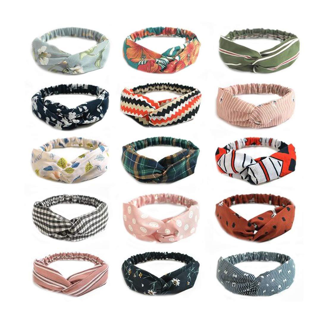 Ewanda store 8 Pcs Boho Headbands for Women,Knot Headbands,Turban Headbands for Women,Cross Chiffon Flower Elastic Headbands Hair Accessories