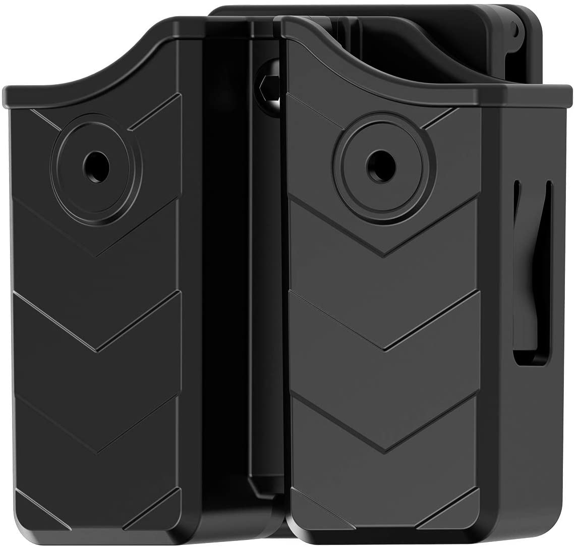 Magazine Pouch, Universal Double Stack Magazine Holster for 9mm/.40 Dual Stack Magazines, Mag Holder with Adjustable Belt Clip for Glock/S&W/Ruger/Sig Sauer/Taurus/Beretta/Springfield/CZ/Walther/H&K