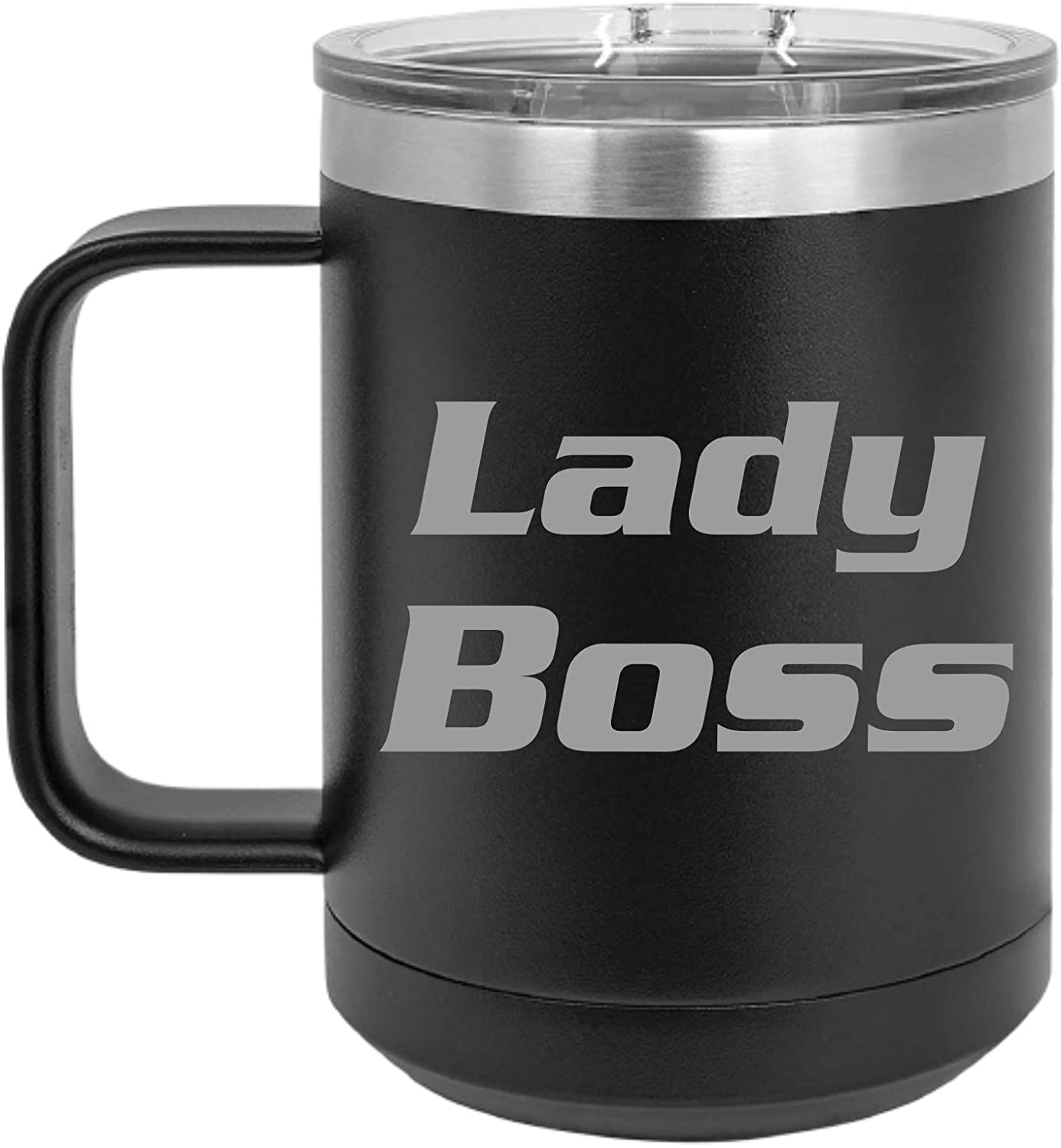 Personalized Lady Boss Custom Coffee Mugs, Unique Gift for Coworker, Best Friend or Boss Lady, 15oz Stainless Steel Laser Engraved Special Occasion Gift (15oz - Lady Boss, Black)