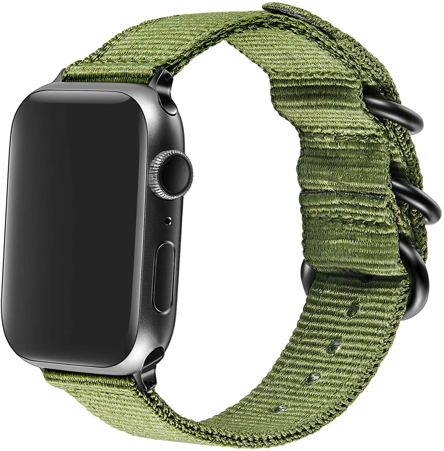 AGUPERFIT Nylon Band Compatible with Apple Watch 42mm 44mm, Robust and Breathable Replacement Strap Works with iWatch Series 6/SE/5/4/3/2/1 (01Olive, 42mm/44mm S/M/L)