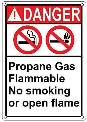 Metal Sign Great Tin Sign Metal Poster Danger Propane Gas Flammable No Smoking Or Open Flame Sign 12
