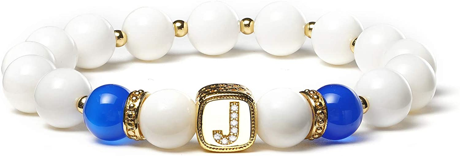 BINLUN 8mm Natural Stone Beaded Bracelet Gold-Plated English Alphabet Decoration Wristband with Crystal Zirconium White Clam and 2 Colors Agate Bracelet for Men Women (White Beads)