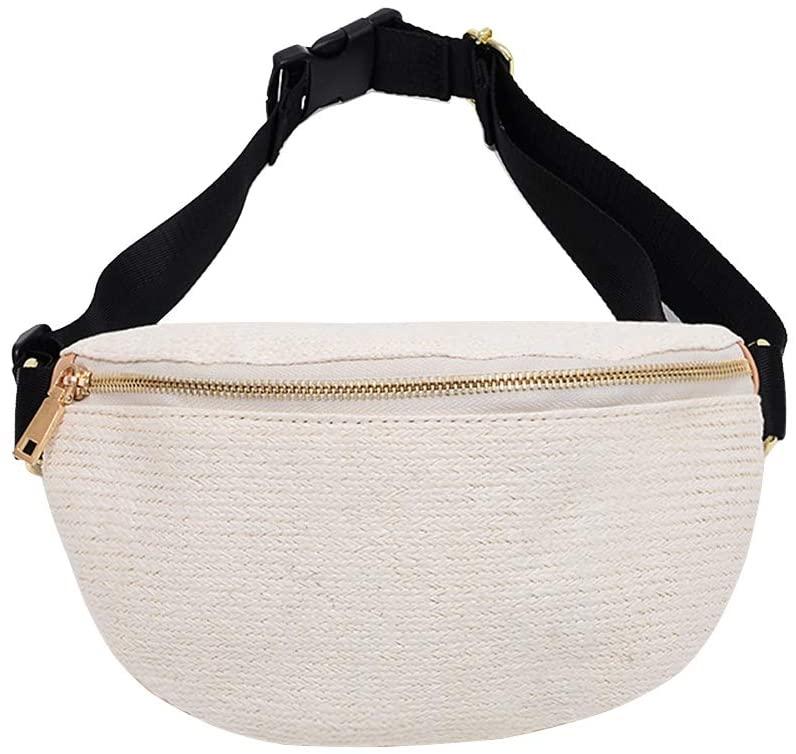 FENICAL Straw Fanny Pack Woven Chest Bag Waist Bag Summer Beach Sling bag for Women Girl (Beige)