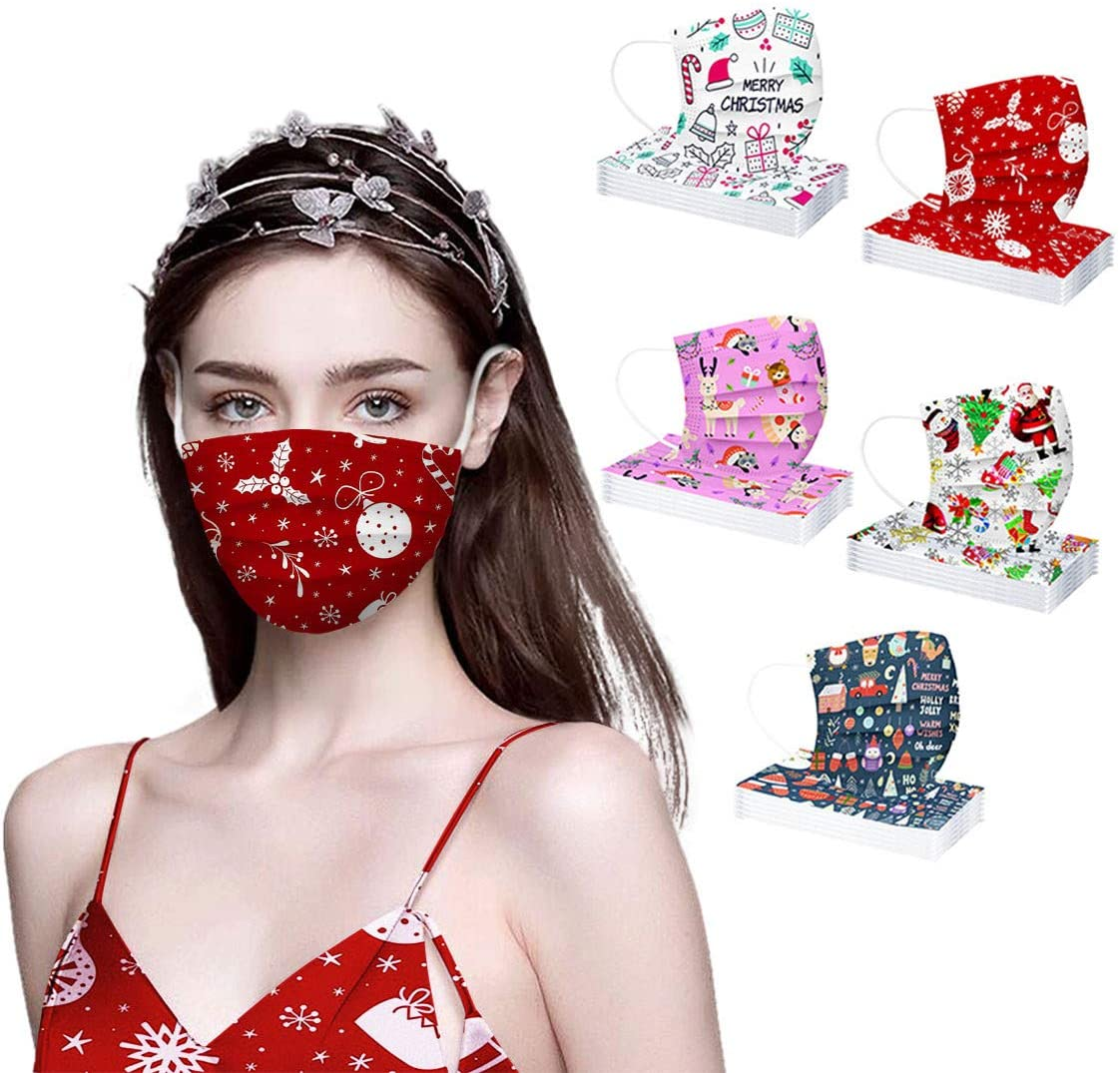 50Pcs Christmas Theme Printed Disposable for Adults, Multiple Pattern Combinations 3-ply for Party (Adults#a, 5x10pcs)