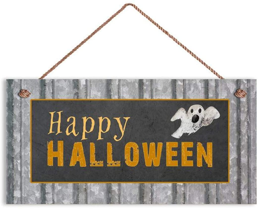 MAIYUAN Happy Halloween Sign, Rustic Decor, Corrugated Metal and Chalkboard Style, 6 x 12 Sign, Holiday Sign, Spooky Sign Signs(E2-WH8124)