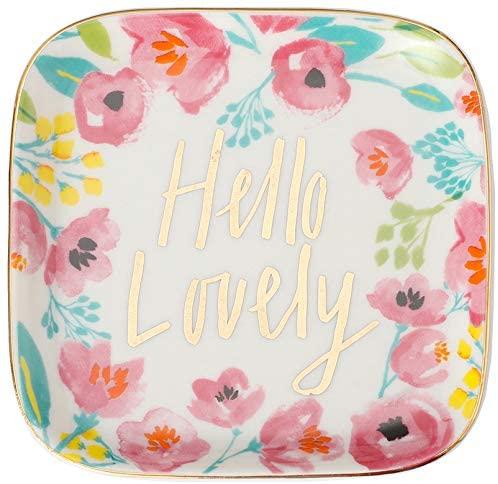 Stephanie Imports Hello Lovely Ceramic Trinket Plate and Decorative Jewelry Dish
