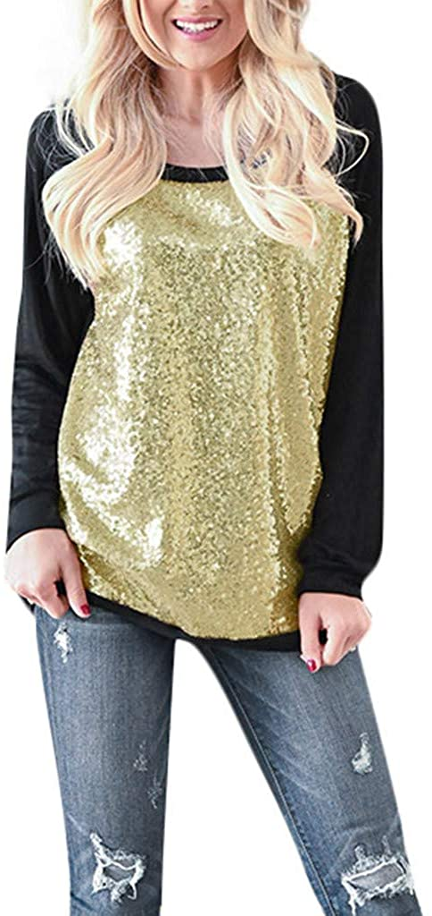 TWGONE Sequin Tops for Women Long Sleeve Black Casual O-Neck Patchwork Blouse