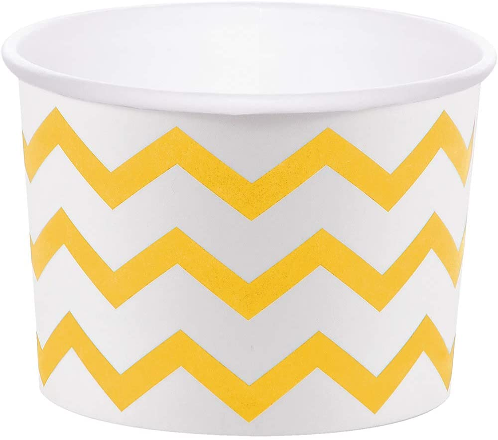 Club Pack of 72 Yellow and White Chevron Pattern Decorative Treat Cups 8.5