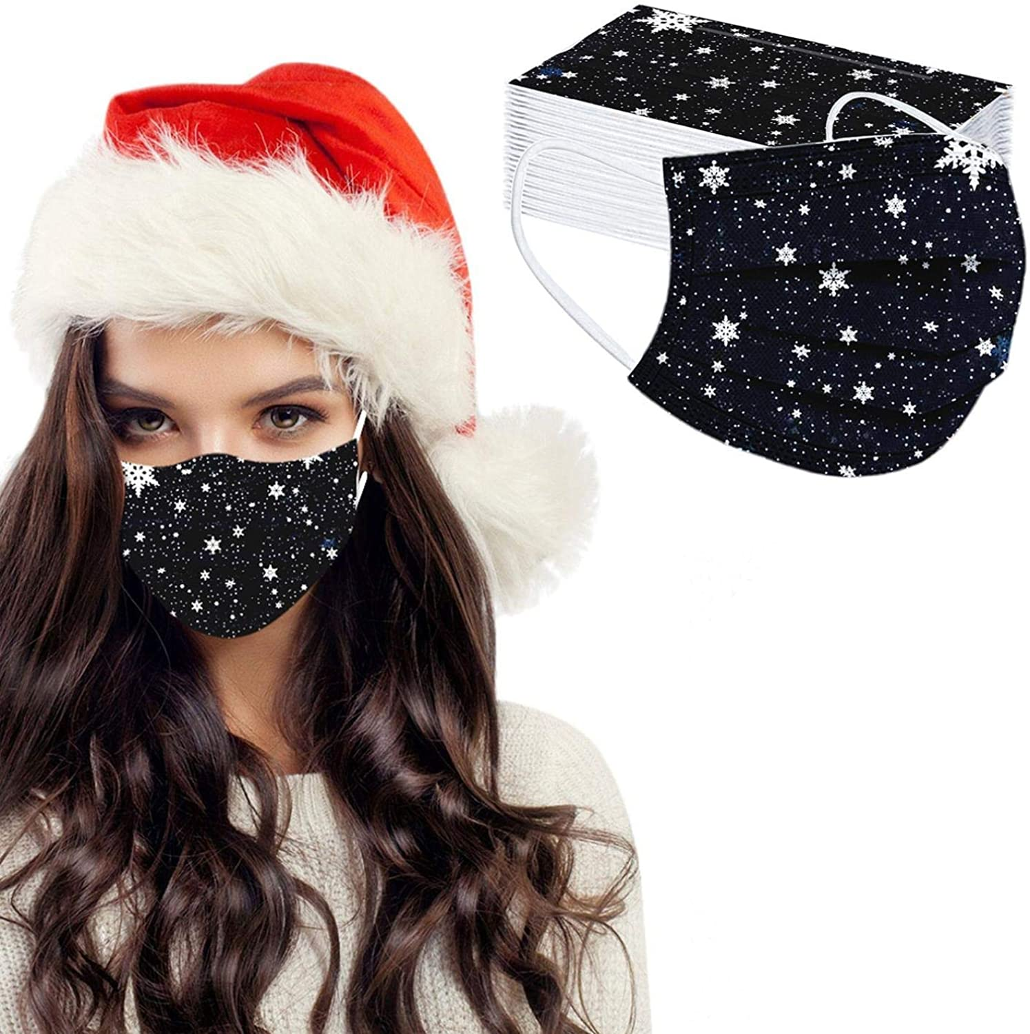 【USA in Stock 】 50 PCS Adults Face Masks Christmas Element Pattern Disposable Face Covering Cloth Face Protection for Women and Men, Fashion Unisex Outdoor Breathable Industrial Ear Loop Face Fabric
