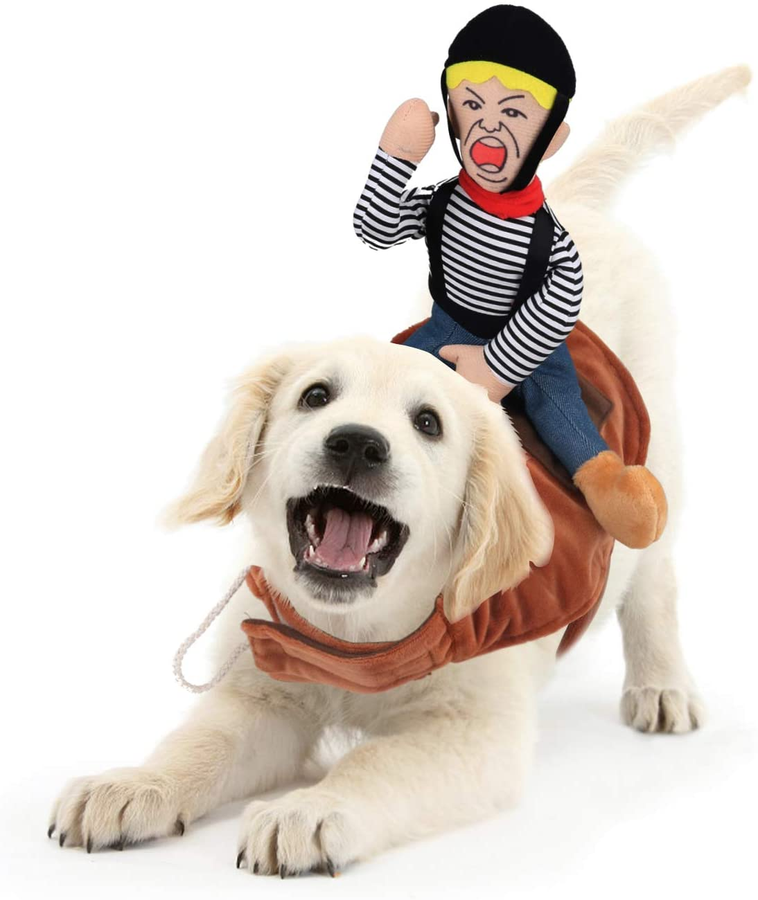 Idepet Dog Halloween Costumes, Halloween Costumes for Dogs, Dog Costumes for Small Medium Dogs Funny Halloween Costumes Cowboy Rider Dogs Clothes with Outfit Suit Knight Style