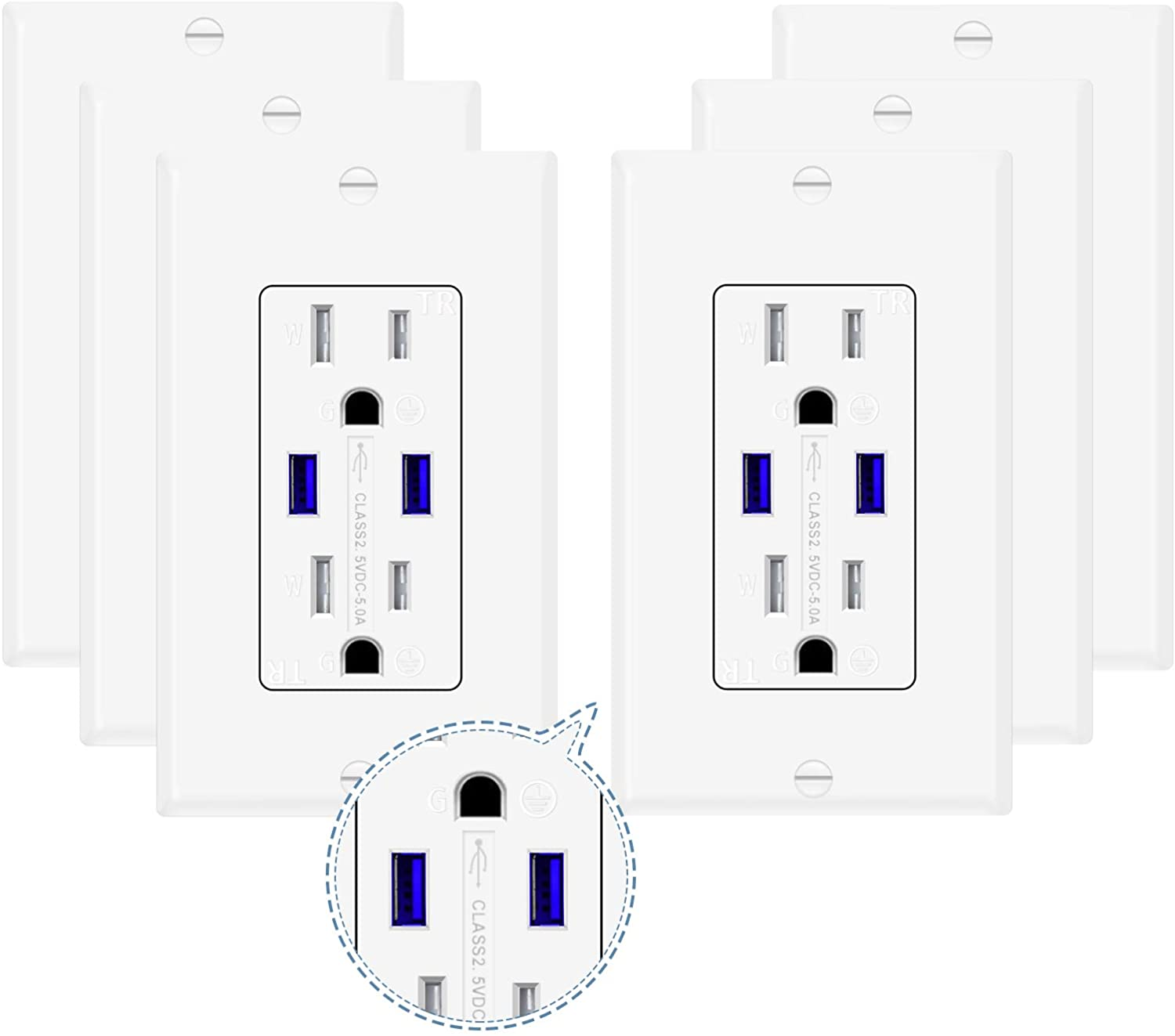 6 Pack Outlets with USB 5 Amp, Electrical Wall Outlets with High Speed Dual Type-A Ports,110V 15A Tamper-Resistant Duplex Receptacles Plugs for Home Interior