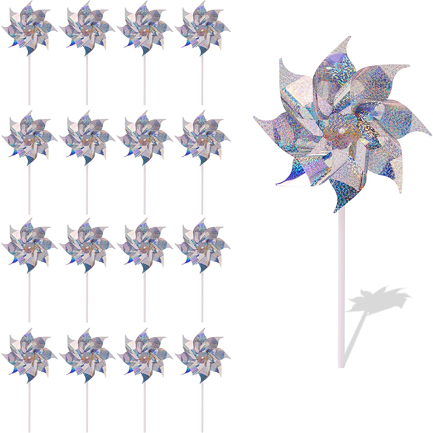 Blue Panda Holographic Pinwheels for Yard and Garden, Silver Wind Spinner (7.7 in, 12 Pack)