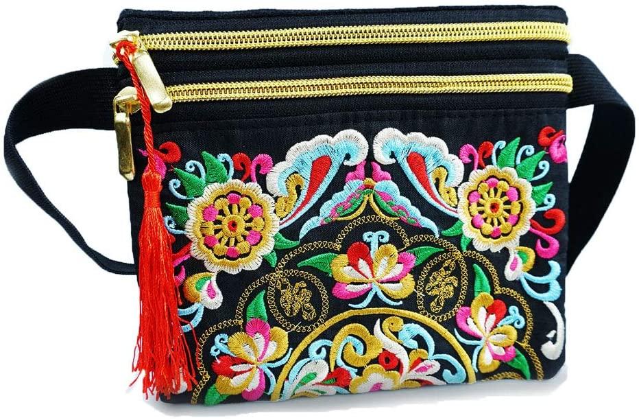 OEENOC Women'S Belt Bags Embroidered Body Bags Sports Belt Bags (Black)