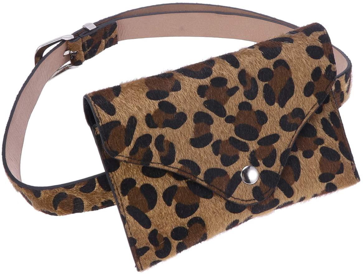 FENICAL PU Leopard Belt Phone Bag Vintage Waist Pack Women Small Belt Phone Purse