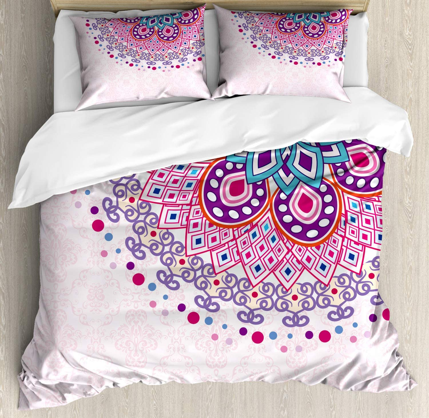 Ambesonne Mandala Duvet Cover Set, Ornamental Meditation Boho Style Print, Decorative 3 Piece Bedding Set with 2 Pillow Shams, King Size, Pink Purple