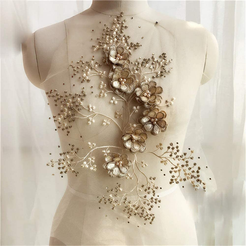 USIX Lace Applique Floral Embroidered Motif 3D Flower Sewing Patch Rhinestone for Handmade Project DIY Craft Bridal Wedding Dress Skirt Clothes Jeans Decoration(Champagne Style A-1 Piece)