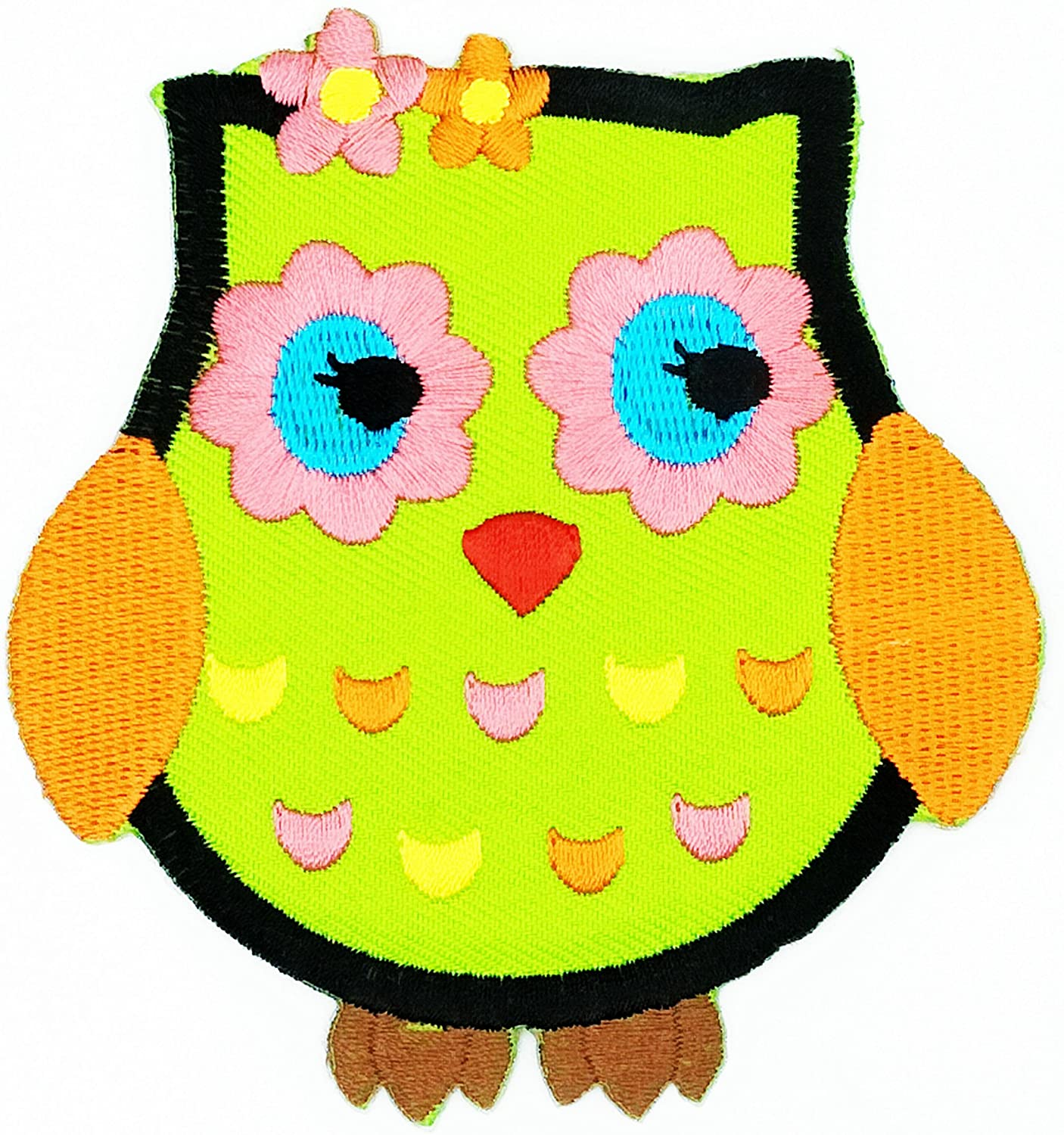 HHO CUTE PRETTY GREEN OWL patch Embroidered DIY Patches, Cute Applique Sew Iron on Kids Craft Patch for Bags Jackets Jeans Clothes