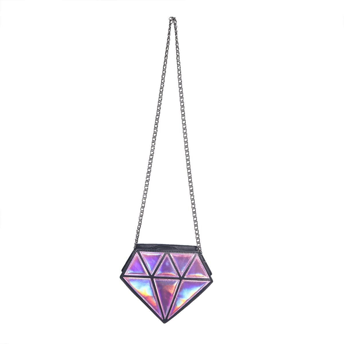 LUOEM Crossbody Bag Hologram Diamond Small Shoulder Bag PU Leather Chain Bag for Women