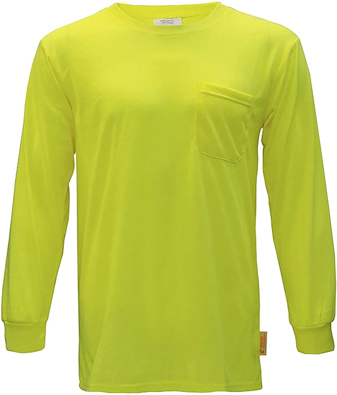 NY Hi-Viz Workwear L2110 Long Sleeve High-Visibility Force Color Enhanced Safety Shirt (Large, Neon Yellow)