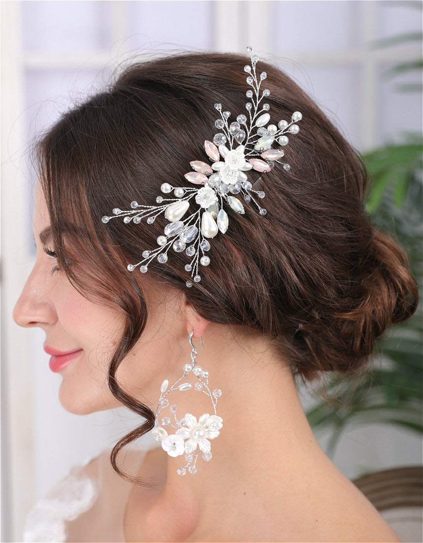 Crystal Bridal Hair Comb for Wedding Pearls Hair Comb Silver for Women Wedding Hair Accessories for Bride Hair Clip Pink Headpiece for Wedding Party Prom Gift