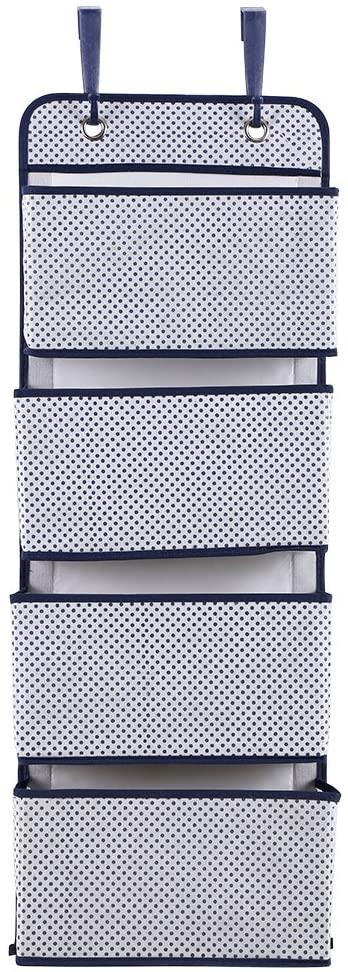 OhhGo 4 Tier Door Hanging Hook Organiser Shoes Storage Pockets Bag Wardrobe (Gray Dots)