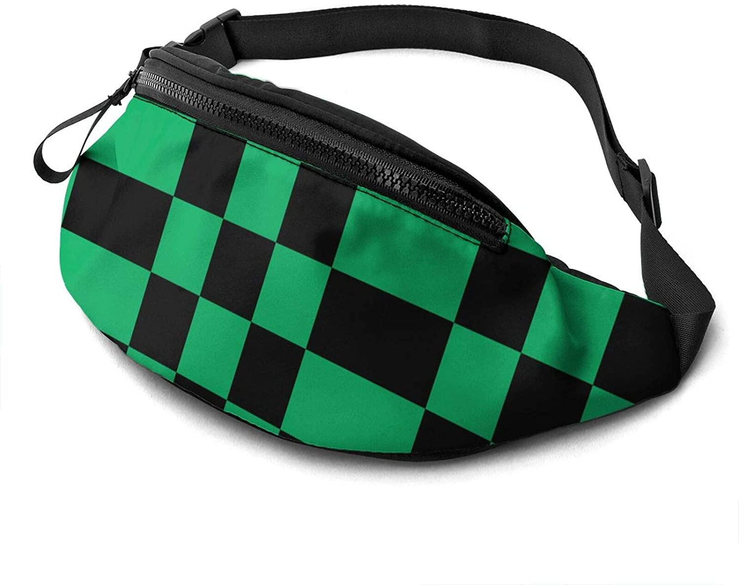 Dujiea Fanny Pack, Black And Green Checkered Waist Bag With Headphone Hole Belt Bag Adjustable Sling Pocket Fashion Hip Bum Bag For Women Men Kids Outdoors Casual Travelling Hiking Cycling