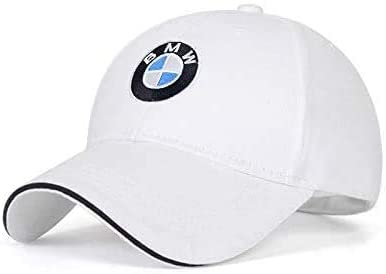 JS Auto Car Logo Embroidered Adjustable Baseball Caps for Men and Women Hat Travel Cap Racing Motor Hat (fit b m w White)
