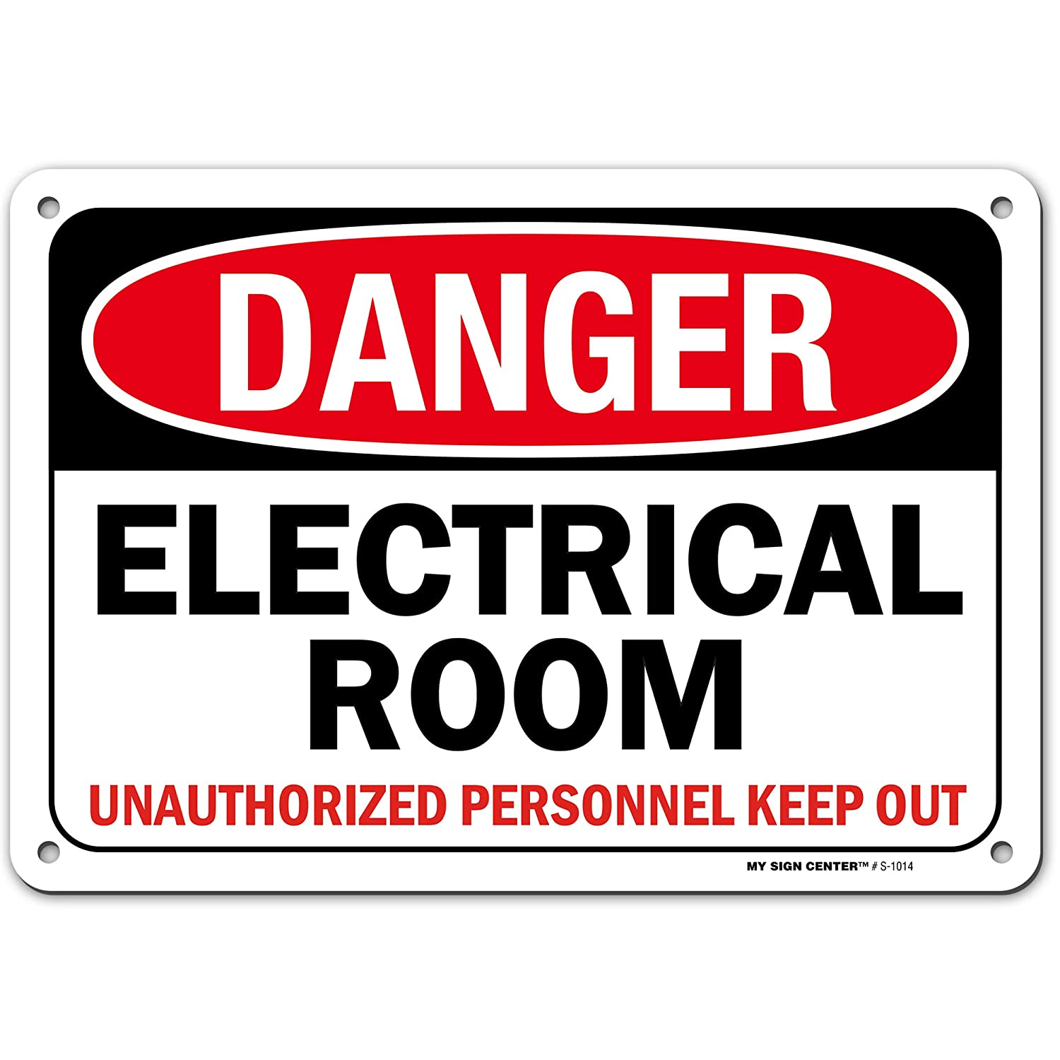 High Voltage Electrical Room Sign, Danger Authorized Personnel Only, Made Out of .040 Rust-Free Aluminum, Indoor/Outdoor Use, UV Protected and Fade-Resistant, 7