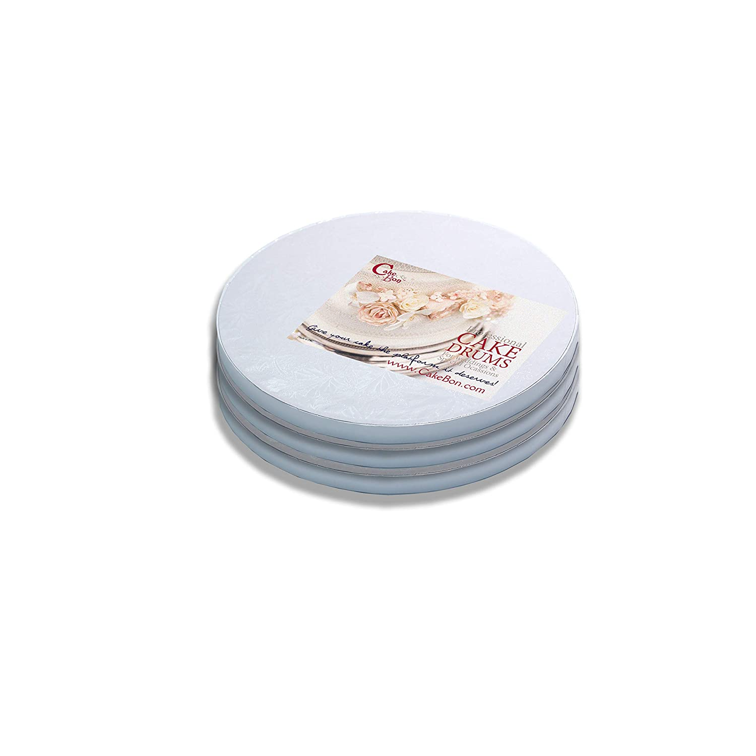 Cake Drums Round 8 Inches - (White, 3-Pack) - Sturdy 1/2 Inch Thick - Professional Smooth Straight Edges