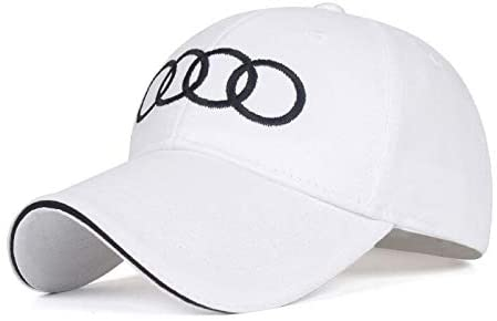 Wall Stickz BearFire Logo Embroidered White Color Adjustable Baseball Caps for Men and Women Hat Travel Cap Racing Motor Hat (fit Audi Without Letter)