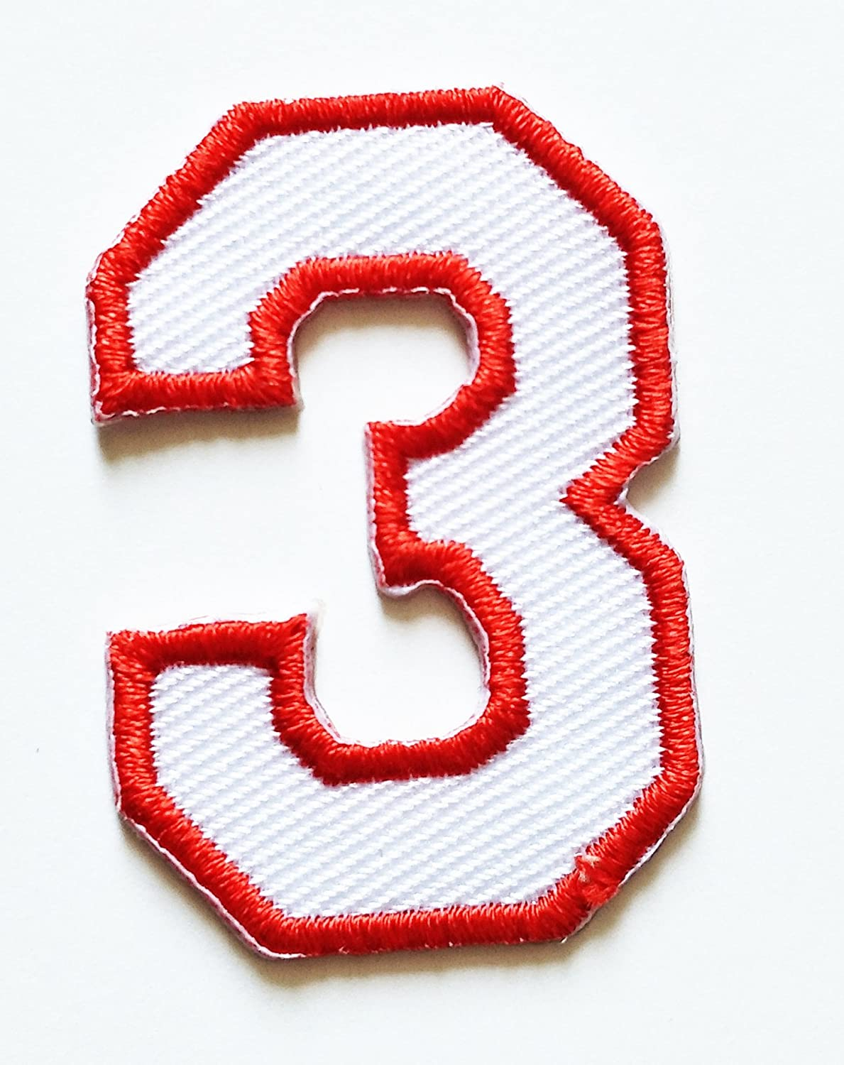 HHO White Red Number 3 No 3 math counting no 3 school Patch Embroidered DIY Patches, Cute Applique Sew Iron on Kids Craft Patch for Bags Jackets Jeans Clothess