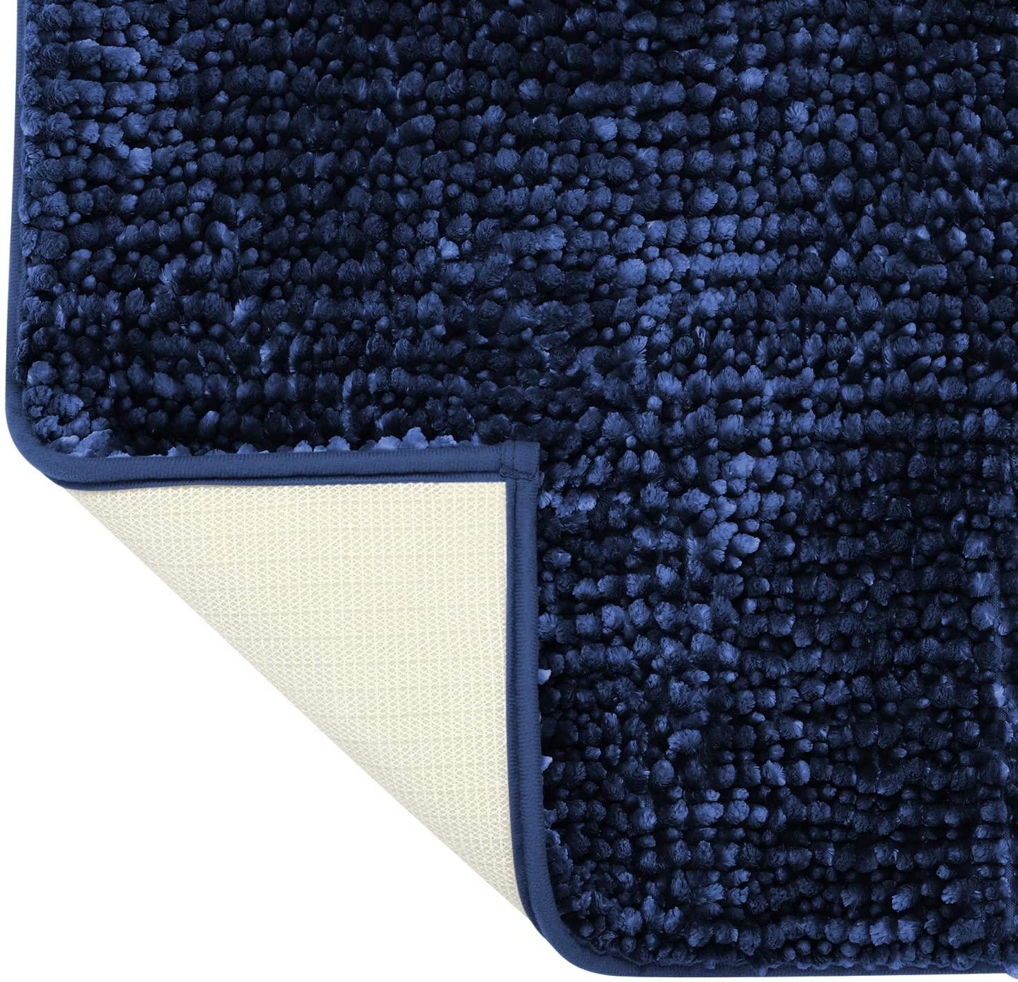 HOMEIDEAS Luxurious U-Shaped Contour Mat - Chenille Navy Blue Bathroom Rug Mat Butter Absorbent Non Slip - Extra Soft Shag Bath Rug, Bath Mat for Tub, Shower & Bathroom - 20x24 inch