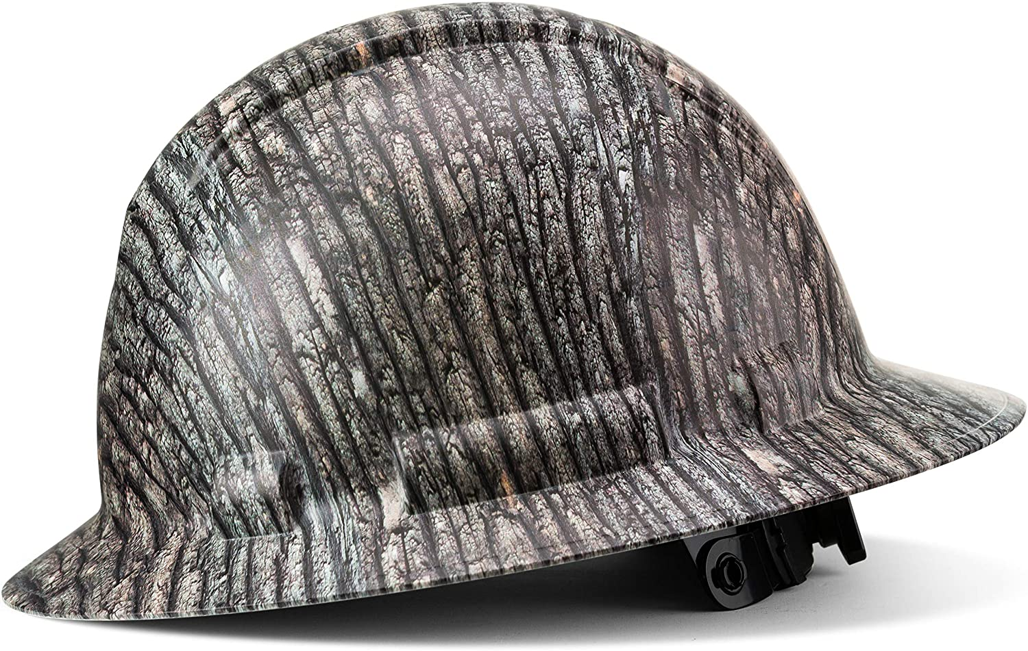 Full Brim Hard Hat, Custom Tree Bark Camo Design Safety Helmet, With 4 Point Suspension, Flag Decal Included, by Acerpal