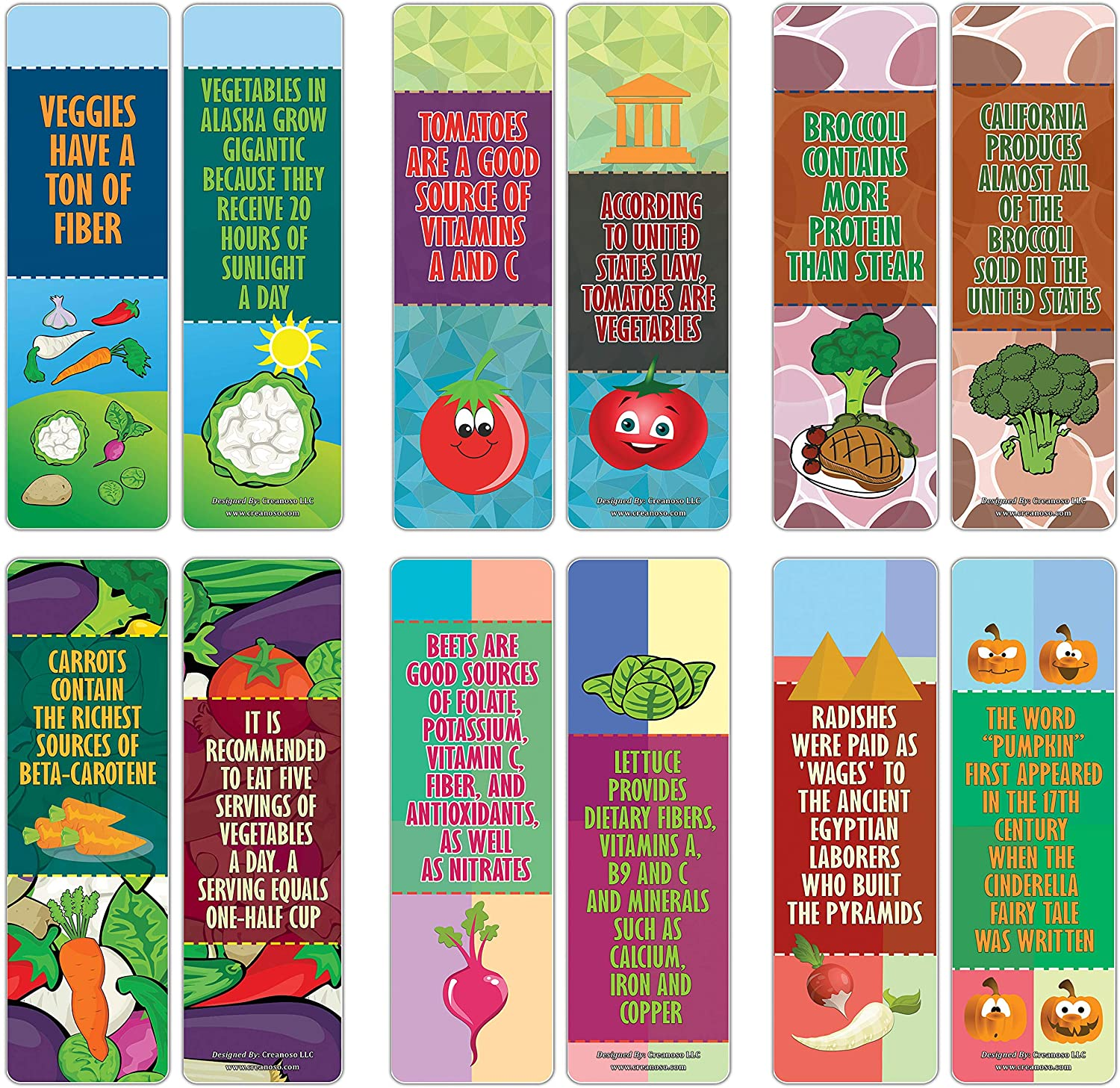 Creanoso Educational Learning About Vegetables Facts Bookmarks Series 2 (30-Pack) – Six Assorted Bulk Pack Book Page Clippers – Great Stocking Stuffers Gifts for Children – Great Teaching Tool
