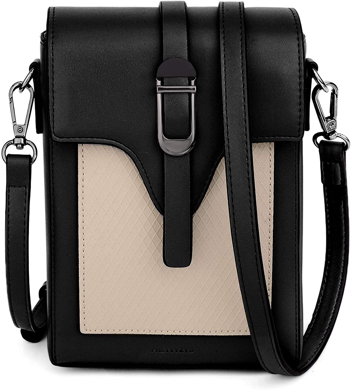 UTO Crossbody Bag for Women Leather Vegan Card Phone Makeup Pouch Magnetic Belt Snap Shoulder Purse