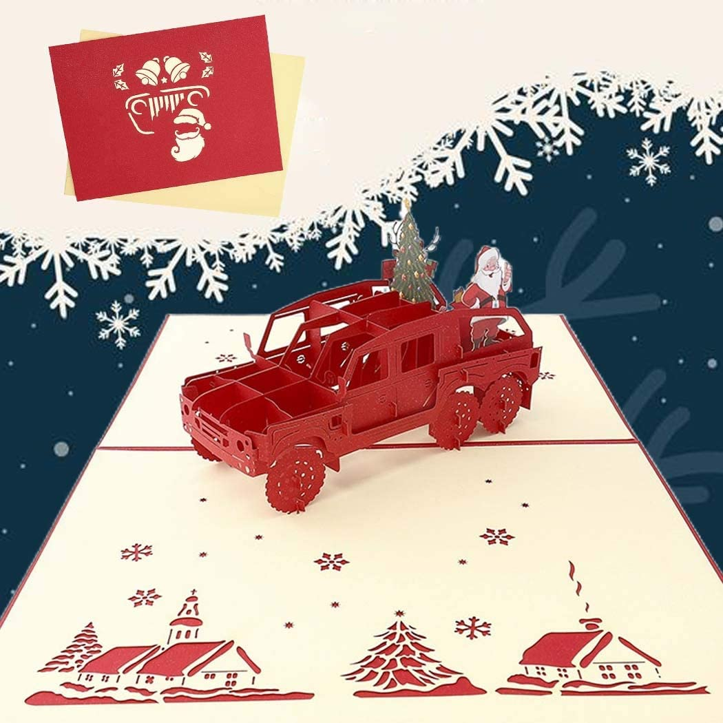 Sethexy 3D Christmas Cards Pop-Up Santa Claus on a Jeep Greeting Cards with Envelopes Vivid Merry Christmas Gifts for Family Best Friend Boyfriend Girlfriend