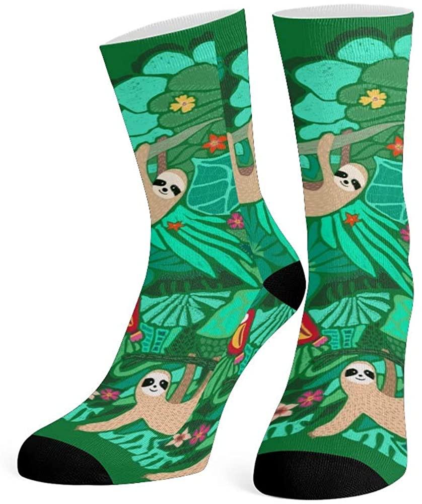 XOZOTY Custom Funny Novelty Cute Sloths Tropical Crew Socks for Mens Womens