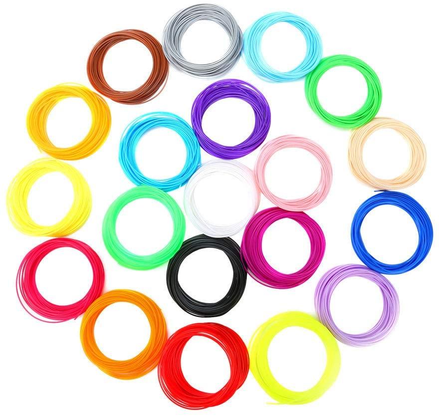 Jroyseter 3D Printing Pen Filament 1.75mm 12 Colors 20 Colors High Temperature Consumables PLA Craft DIY Printing Materials for Intelligent 3D Pen (10m)