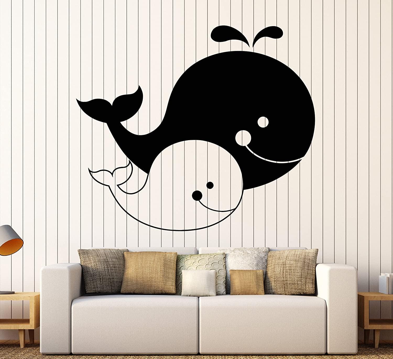 DesignToRefine Vinyl Wall Decal Cartoons Family Whales Sea Ocean Animals Decor for Nursery Stickers Large Decor (1213ig) Black