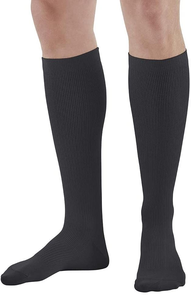 Ames Walker AW Style 101 Men's Microfiber Dress 15 20 Knee High Socks Black XL