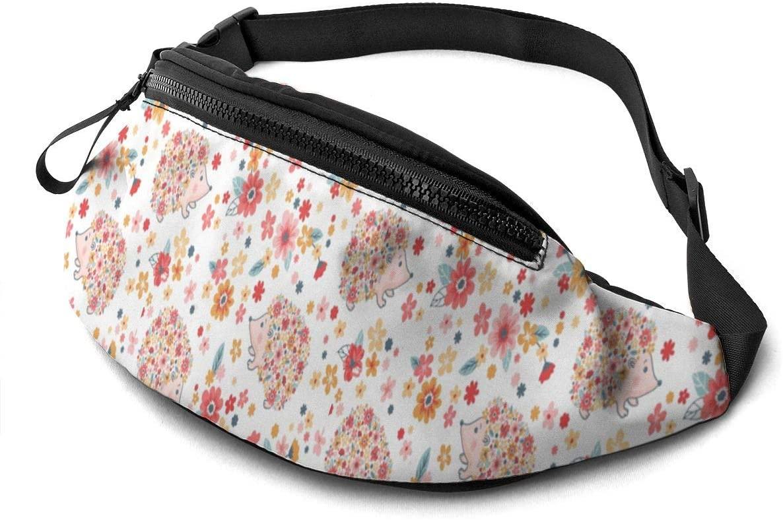 Dujiea Fanny Pack, Hedgehog Floral Waist Bag with Headphone Hole Belt Bag Adjustable Sling Pocket Fashion Hip Bum Bag for Women Men Kids Outdoors Casual Travelling Hiking Cycling